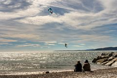 Kite surfer on french riviera in saint raphael, france royalty free stock images