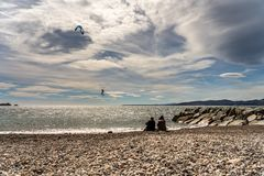 Kite surfer on french riviera in saint raphael, france stock photos