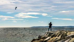 Kite surfer on french riviera in saint raphael, france stock photo