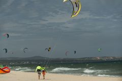 Kite surfer with his learner Stock Image