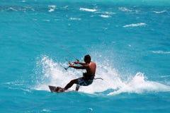 Kite surfer on the lagoon stock photography