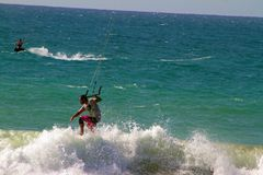 KITE SURFER IN MOTION stock photography