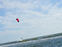 Kite Surfer out on the Ocean Stock Photography