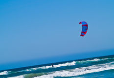 Kite Surfer out on the Ocean Royalty Free Stock Photos