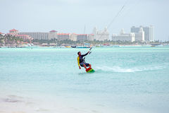 Kite surfer on Palm Beach at Aruba island in the Caribbean Royalty Free Stock Image