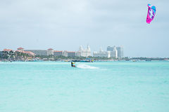 Kite surfer on Palm Beach at Aruba island in the Caribbean Royalty Free Stock Photos