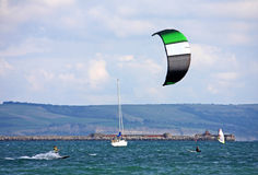 Kite surfer in Portland harbour Royalty Free Stock Images