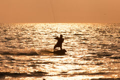 Kite surfer sailing in the sea Royalty Free Stock Image