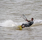 Kite surfer at sea Stock Photography
