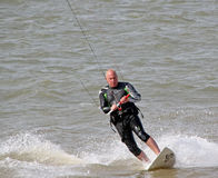 Kite surfer at sea Royalty Free Stock Photo