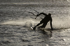 Kite surfer silhouette Royalty Free Stock Photos