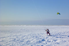 Kite surfer. In the snow Royalty Free Stock Photos