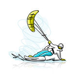 Kite surfer on snowboard, sketch for your design Royalty Free Stock Photography