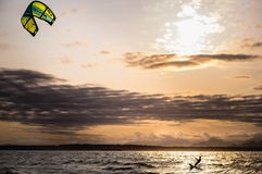 Kite-surfer at sunset Stock Images