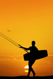 Kite surfer at sunset Stock Photo