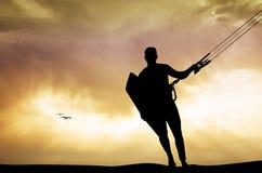 Kite surfer at sunset Royalty Free Stock Image