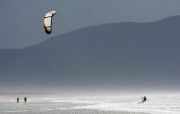 Kite Surfer in the Waves at the Coast of Ireland Royalty Free Stock Image