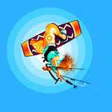 Kite surfer. Young kitesurfer jumping on board onto the sky Royalty Free Stock Photo