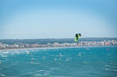 Kite surfers aerial view Stock Photography