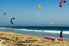 Kite surfers on a beach in california Stock Photography