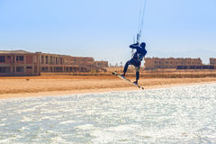 Kite surfers at the beach of Red Sea near Hurghada Royalty Free Stock Photos