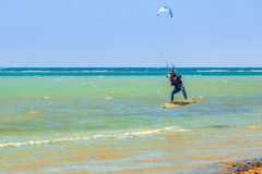 Kite surfers at the beach of Red Sea near Hurghada Royalty Free Stock Photography