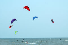kite surfers: Color in action Royalty Free Stock Photography
