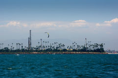 Kite Surfers Long Beach Harbor. Kite surfers off the shore of Long Beach, California Royalty Free Stock Image