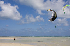 Kite-surfers prepare to compete. SAMUI, THAILAND - JANUARY 24:Kite-surfers prepare to compete in kite-surfing event at Bang Kao on January 24, 2010 in Samui Stock Photos