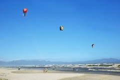 Kite surfers training in Muizenberg beach Stock Image