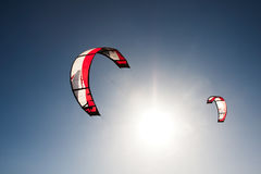 Kite surfing. Outdoor kite surfing on a sunny day Royalty Free Stock Images