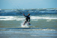 Kite surfing. On North sea in Belgium Stock Photos