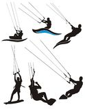Kite surfing. Silhouettes. Vector illustration Stock Photos