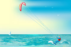 Kite-surfing Stock Photo