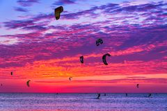 Kite-surfing against a beautiful sunset. Many silhouettes of kit Royalty Free Stock Photo