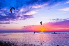 Kite-surfing against a beautiful sunset. Many silhouettes of kit Royalty Free Stock Photography