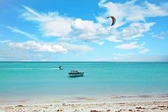 Kite surfing at Aruba island Royalty Free Stock Image
