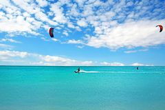 Kite surfing at Aruba island in the caribbean sea Stock Photo