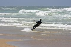 Kite surfing on the atlantic Royalty Free Stock Photography