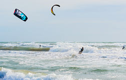 Kite surfing in Barcelona, Spain Royalty Free Stock Image