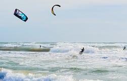 Kite surfing in Barcelona, Spain Royalty Free Stock Image