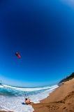 Kite Surfing Beach Launch Action  Royalty Free Stock Images