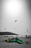 Kite surfing beach on Rhodes Stock Photos