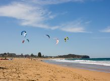 Kite Surfing At The Beach Royalty Free Stock Image