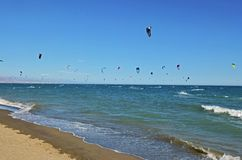 Kite surfing. At beach in Torremolinos Spain Royalty Free Stock Image