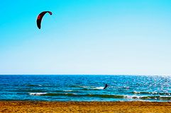 Kite surfing on the blue sea. Oil painting picture royalty free stock photo