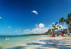 Kite surfing on bolabog beach in boracay philippines Stock Photo