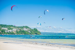 Kite surfing on Boracay royalty free stock images