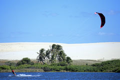 Kite surfing in brazil Stock Image
