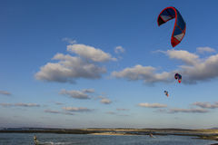 Kite surfing on an canary lagoon. Royalty Free Stock Image